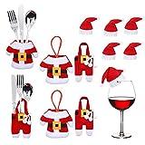 MELARQT Weihnachten Bestecktasche Weihnachtlicher Zierschmuck, 12pcs Weihnachtsmann Tischdeko Besteckbeutel Geschirrhalter Weihnachten Dekoration Besteck Kostüm Kleine Hosen und Weihnachtsmannmützen