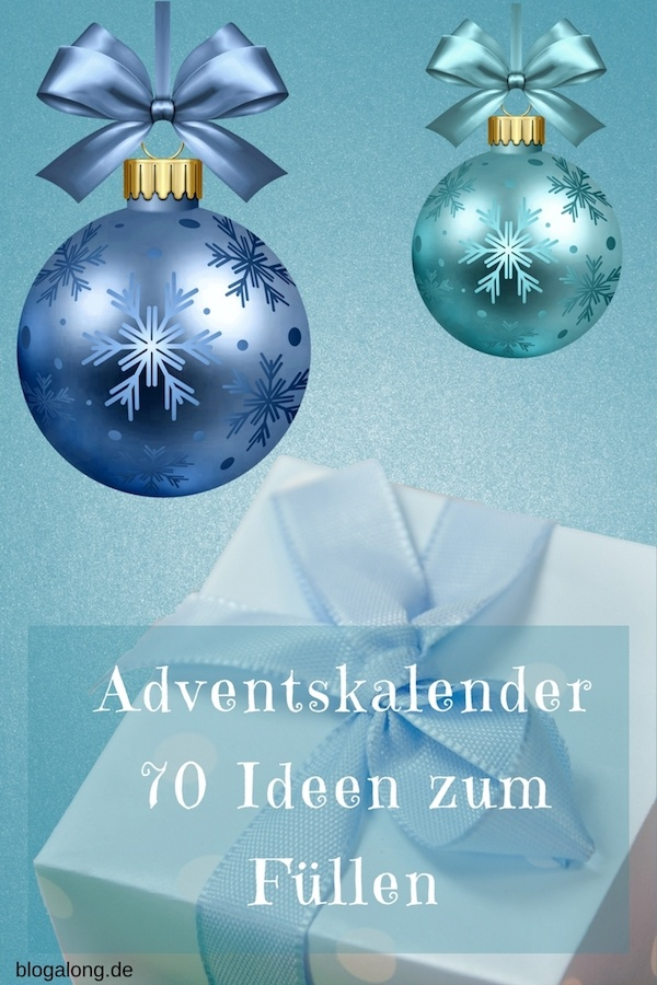 """Die Adventszeit steht vor der Tür. Und kurz danach folgt auch schon Weihnachten. Bist du auch ein kreativer Typ und möchtest einen eigenen Adventskalender basteln? Das ist nicht schwer, aber für mich stellt sich hierbei immer die Frage: womit soll ich die einzelnen """"Türchen"""" füllen? Hier findest du 70 kreative Ideen zum Befüllen! #adventskalender #weihnachten #advent #geschenkideen #blogalong"""